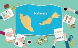 Malezja kraju narodu wzrostowa drużyna dyskutuje z fałd map widokiem od wierzchołka royalty ilustracja