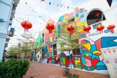 Malezja - 11 2017 Luty: uliczna sztuka na ścianie przy Melaka Obrazy Stock