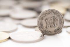 Malezja pieniądze 10 centów monety stary stojak 1981 Zdjęcie Royalty Free