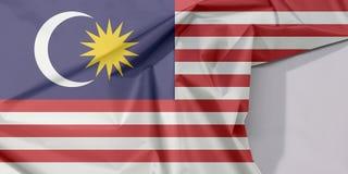 Malezja tkaniny flaga zagniecenie z biel przestrzenią i krepa zdjęcia stock