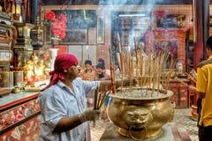 Malezja, w Kuala Lumpur podczas Chińskiego nowego roku w grzechu Sze Si Ya świątyni Obraz Stock