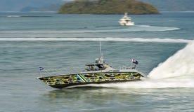 Malezyjscy zwyczaje łódkowaci przy LIMA expo zwroty zdjęcia stock