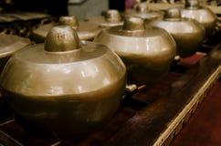 Malezyjski tradycyjny muzyczny instrument dzwonił Gamelan z beaut fotografia stock
