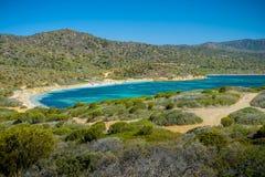 Malfatano plaża w południowym Sardinia Zdjęcie Stock