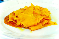 Malfatti boar_1. Italian pasta made ​​by hand with wild boar sauce Stock Photo