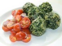 Malfatti com tomates Foto de Stock Royalty Free