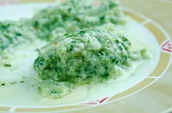 Malfatti. Italian dish of spinach, flour and cheese Stock Photo