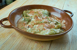 Malfouf. Palestine Stuffed Cabbage Rolls. close up Royalty Free Stock Images