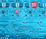 Malfunction of electronic equipment circuits. Closeup of computer micro circuit board with burnt chips Royalty Free Stock Images