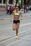 Malgorzata Sobanska during prague marathon 2009 Royalty Free Stock Images
