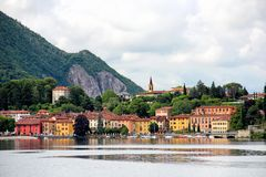 Malgrate, province of Lecco, Italy. Malgrate village at Como lake, view from Lecco, Lombardy, Italy Royalty Free Stock Photos