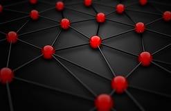 malha do wireframe 3D com pontos de conexão vermelhos no fundo preto Foto de Stock
