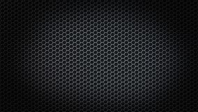 Malha sextavada abstrata do metal no fundo preto fotografia de stock