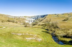 Malham Beck and Cove Yorkshire England. Malham Beck and Cove, North Yorkshire England, with a patchwork of dry stone walls Stock Photos