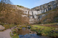 Malham Beck and Malham Cove in Yorkshire Dales National Park. Malham Beck and Malham Cove in Yorkshire Dales Stock Photos