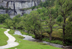 Malham Cove landscape in Yorkshire Dales. National Park in England on a cloudy day Royalty Free Stock Photos