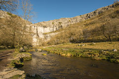 Malham Cove North Yorkshire Dales. Malham beck flows away from Malham Cove. Limestone tourist attraction in North Yorkshire Dales National Park Royalty Free Stock Photography