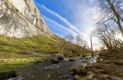 Malham cove panorama on a Winter`s day. Malham cove panorama, Yorkshire Dales National Park, UK. The high cliff of Malham Cove can be seen to the left Royalty Free Stock Photos