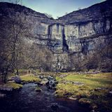 Malham  Cove. The view of the cove at Malham as you approach Royalty Free Stock Photo