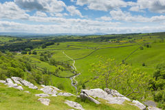 Malham Cove view from the top Yorkshire Dales National Park UK. Yorkshire Dales view from Malham Cove UK in summer with blue sky Stock Photography