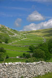 Malham dale scenery. And limestone escarpment, in North Yorkshire dales, England Royalty Free Stock Images
