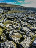 Malham Pavement on a sunny Winter`s day. The famous Limestone pavement as seen in the Harry Potter move. The place is called Malham near Malham Tarn near the Stock Image