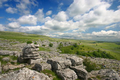 Malham Scenery in the Yorkshire Dales. A limestone pavement above Malham in the Yorkshire Dales, England Stock Image