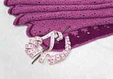 Malhas cor-de-rosa, centímetro e uma agulha de crochê Fotos de Stock