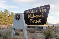 Malheur National Forest US Department of Agriculture Sign Stock Photo