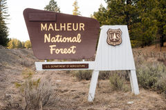 Malheur National Forest US Department of Agriculture Sign. National Forest Boundary Sign Oregon Stock Photo