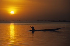 Mali 1. Sunset along the river Niger  near Sévaré, Mali Stock Photography