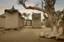 Mali, Africa - Dogon village and typical mud buildings. Ansongo, Mali, Africa - January 28, 1992: Dogon village and typical mud buildings with toguna and barns Royalty Free Stock Image