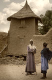 Mali, Africa - Dogon village and typical mud buildings. Ansongo, Mali, Africa - January 28, 1992: Dogon village and typical mud buildings with toguna and barns Royalty Free Stock Photo