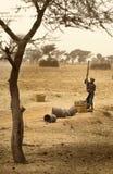 Mali, afryka zachodnia Peul wioska i typowi borowinowi budynki - Zdjęcie Stock