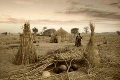 Mali, afryka zachodnia Peul wioska i typowi borowinowi budynki - Fotografia Royalty Free
