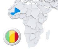 Mali auf Afrika-Karte stock abbildung