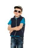 mali chłopiec okulary przeciwsłoneczne zdjęcie stock