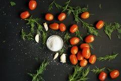 mali czerwoni dojrzali czereśniowi pomidory z zieloną pietruszką, czosnkiem i prostacką solą w śmietance na czarnym texture obraz royalty free