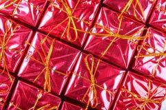 Mali czerwoni prezentów pudełka Zdjęcie Royalty Free