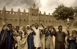 Mali, Djenne - January 25, 1992: Mosques built entirely of clay. Mali, Djenne - January 25, 1992:  impressive mosques built entirely of clay in west Africa Royalty Free Stock Images