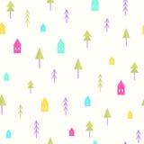 Mali domy i drzewo wzór Fotografia Stock