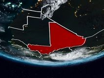 Mali during night. Mali on Earth at night with visible country borders. 3D illustration. Elements of this image furnished by NASA Stock Images