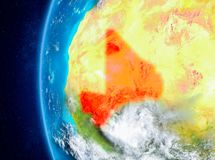 Mali on Earth from space. Map of Mali as seen from space on planet Earth with clouds and atmosphere. 3D illustration. Elements of this image furnished by NASA Stock Image