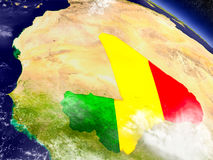 Mali with embedded flag on Earth Stock Images