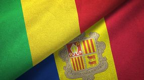 Mali en Andorra twee vlaggen textieldoek, stoffentextuur stock illustratie