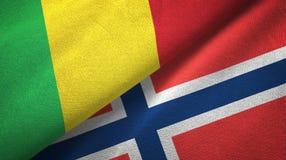 Mali en Noorwegen twee vlaggen textieldoek, stoffentextuur royalty-vrije illustratie
