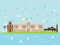 Mali Famous Landmarks Infographic Templates per stile e l'icona minimi di viaggio, vettore dell'insieme di simboli illustrazione di stock