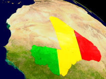 Mali with flag on Earth Royalty Free Stock Photos