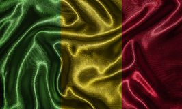 Wallpaper by Mali flag and waving flag by fabric. Mali flag - Fabric flag of Mali country, Background and wallpaper of waving flag by textile Royalty Free Stock Image