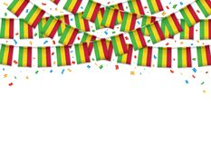 Mali flag garland white background with confetti. Hang bunting for Malian independence Day celebration template banner, Vector illustration Royalty Free Stock Photos